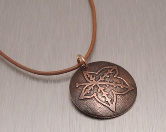 Etched Copper Pendant - Ivy