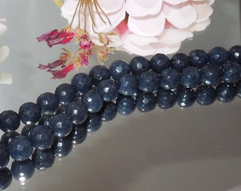 Dark Sapphire Blue Jade Facet Round 7mm Destash- Bastet's Beads-