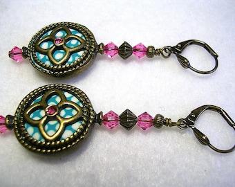 Antiqued Bronze Polymer Clay Earrings Aqua Rose Swarovski Crystal Leverback Hooks