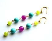 Long Jade Earrings, Colorful Gemstone Earrings, Turquoise, Lime and Fuchsia