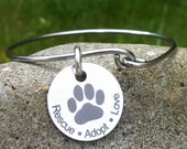 Rescue Adopt Love Stainless Steel Bangle