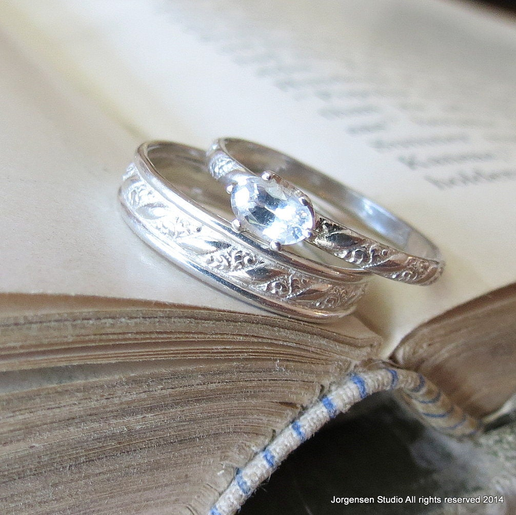 White Sapphire Engagement Ring Oval Gemstone Diamond