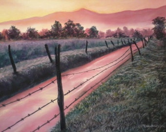 Sparks Lane Sunrise Original Pastel painting 9 x 12 inches Smoky Mountains national park FREE SHIPPING