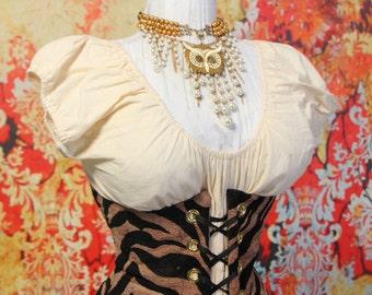 Waist 27 to 29-Punk Rock Zebra Print Underbust Corset