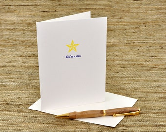 You're a star - letterpress card