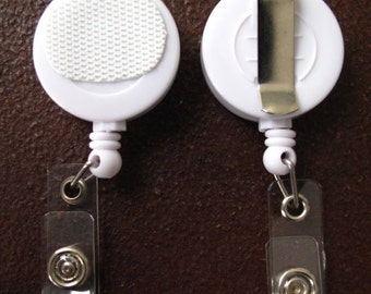 Velcro Clip on White Retractable Badge Reel