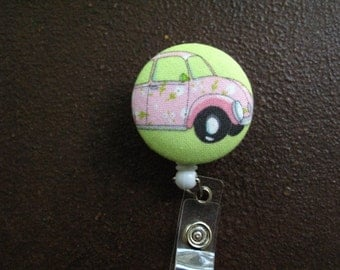 Clip on Retractable Badge Reel / Lanyard with Fabric Covered Button - Pink Volkswagon