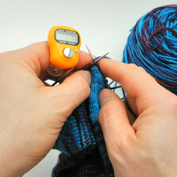 Knitting Row Counter For Finger : Orange row counter for knitting and crochet fits on your