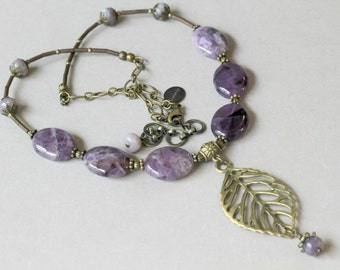 Purple and Brass Leaf Pendant Dangling BOHO Style  Necklace