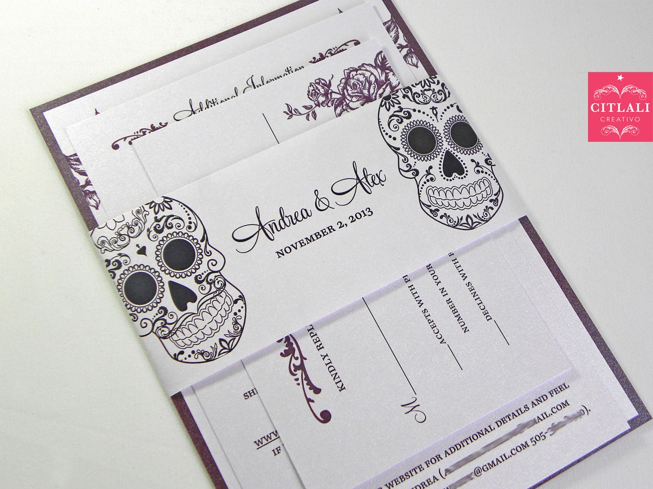 Day Of The Dead Wedding Invitations: Day Of The Dead Wedding Invitations Dia De Los Muertos By