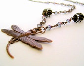 Beaded Bohemian Brass Dragonfly Pendant Necklace