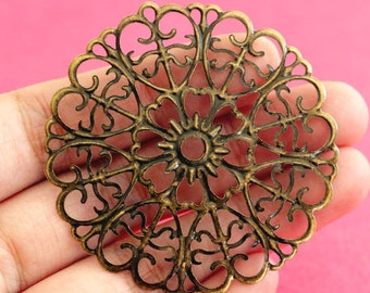 50pcs 51mm Antique Bronze Filigree Pendants