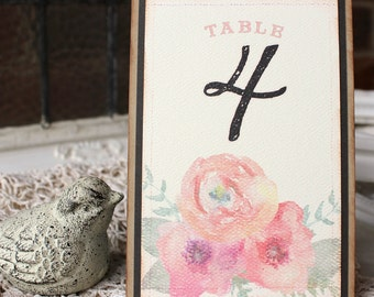 Floral Watercolor Table Numbers