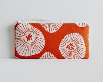 Long Zipper Pouch Women's Wallet Pencil Case Moira in Apricot Lotta Jansdotter Echo