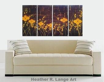 Original Cherry Blossom Modern Painting 4 Piece Set Asian Inspired Fantasy Flowers Yellow Brown Orange Textured by Heather R Lange