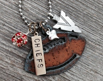 I Love Football Necklace for Kansas City Chiefs Fans | Rustic Football or Helmet, Arrowhead and Heart Charms, Red Rhinestones
