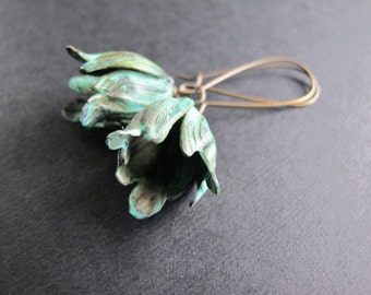 Verdigris Tulip Earrings Brass Earrings, Nature Inspired Patina Tulips
