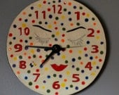 Colorful Poka Dot Sleeping Ceramic Clock with Eyelashes and Lips