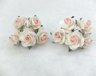 10 25mm cream pink mulberry paper roses - paper flowers