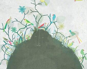 Creature M - Art -Print of an original illustration - birds - flowers