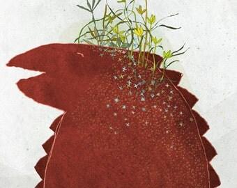Creature Z - Art -Print of an original illustration - lizard - dinosaur - flowers