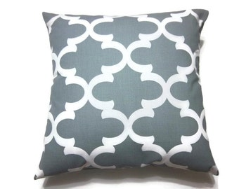 Decorative Pillow Cover Gray White Damask Design Toss Throw Accent Same Fabric Front /Back  18x18 inch x