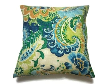 Decorative Pillow Cover Multicolored Modern Paisley Same Fabric Front/Back Lime Green Navy Blue Sky Blue Emerald Green Gold,18x18 inch x