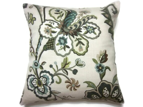 Decorative Pillow Cover Aqua Olive Blue Taupe Handmade Floral Design Toss Throw Accent 18x18 inch