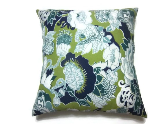 Navy And Teal Throw Pillows: Decorative Pillow Cover Navy Blue Chartreuse By