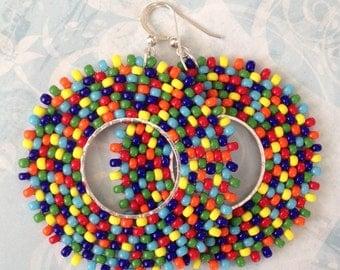Seed Bead Earrings - Rainbow Bubbles Beadwork Hoop Earrings - Big Bold Bright Colorful Beaded Hoops