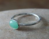 Oval Green Aventurine Stacking Ring Sterling Silver, May Birthstone, Small Stacking Ring, Scandinavian, Womens Jewelry, Size 2 to 15, Gift