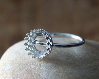 Gallery Bezel Crown Setting Ring • 10 mm Round • Sterling Silver • Ready to be Set with Your Own Stone • Supplies