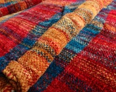 Red, Orange, and Turquoise stripe handwoven chenille scarf