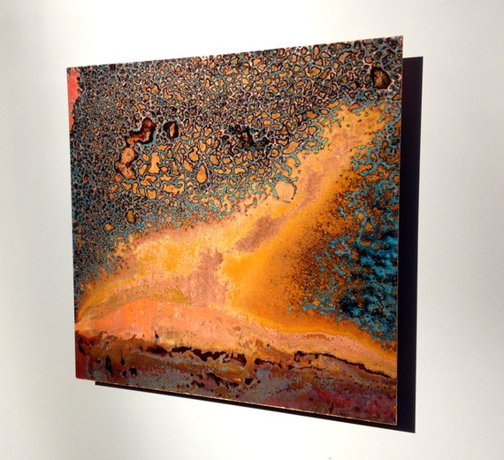 Copper Art Abstract Patina Painting Ember 10 X 10