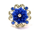 Blue Flower Ring With Bling