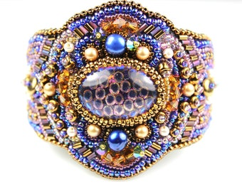 Snakeskin Bead Embroidered Cuff