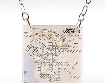 Los Angeles Transit Necklace - LA Map Necklace - Los Angeles Necklace - LA Subway Necklace
