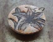Tiger Lily Brass Bezel Pendant