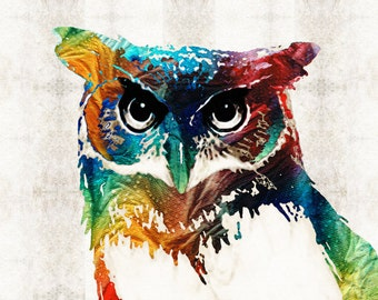 Owl Art PRINT From Painting Cute Bird Colorful Fun Happy Whimsical Primary Colors Animal CANVAS Ready To Hang Artwork Zoo Eyes Collectible