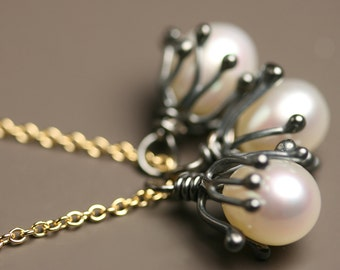 Midnight Sprouts Pearl Necklace with Gold Fill Chain