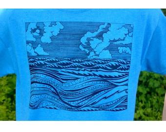 Waves Ocean Tshirt in Mens on Aqua Blue shirt