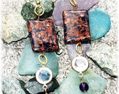SALE Blue and Gold Goldstone Earrings with Amethyst and Crystal Dangles