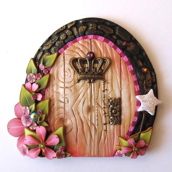 Pink princess fairy door pixie portal fairy garden decor for Princess fairy door