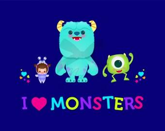 I love Monsters Inc Print