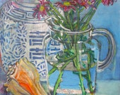 SALE Some Day original still life mixed media painting by Polly Jones