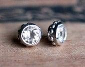 White topaz stud earrings, tiny stud earrings, diamond like studs, bezel earrings, April birthstone stud earrings gift wrought ready to ship