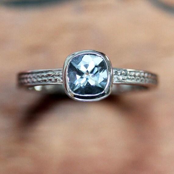 Natural aquamarine engagement ring, square engagement ring, cushion cut engagement ring, white gold ring, braided engagement ring, size 5