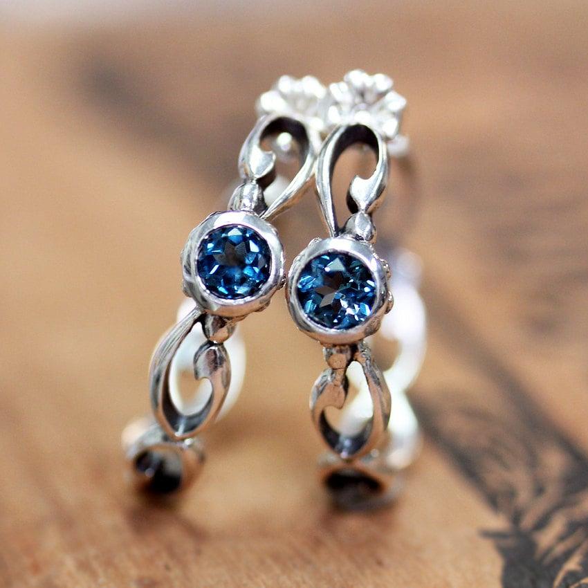 gemstone hoop earrings london blue topaz earrings infinity. Black Bedroom Furniture Sets. Home Design Ideas