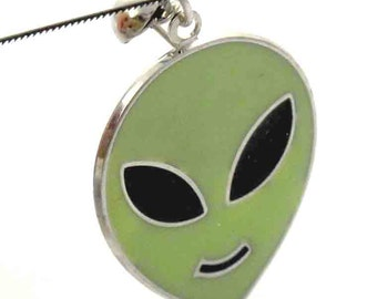 Vintage Lime Green Alien Earrings / Pendants (2X) (E532)