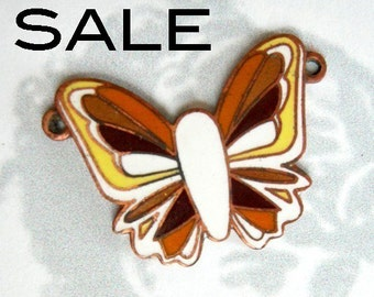 Vintage Enamel Butterfly Pendants (4X) (E531) SALE - 50% off